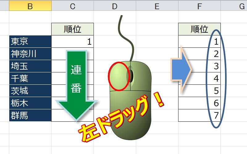 エクセルの連番をマウスで一気に入力する3つの方法(フィル利用)