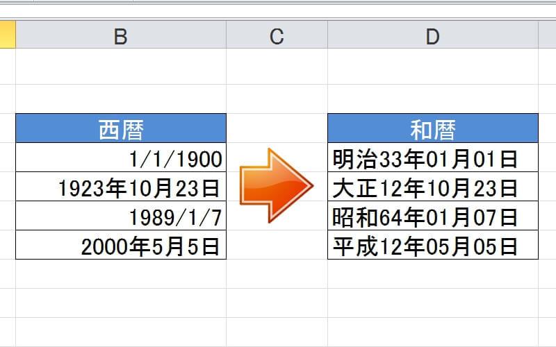 エクセルで西暦を和暦に変換して表示させる方法(関数と書式設定の方法)