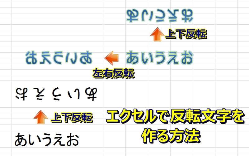 エクセルで180度回転した上下、左右の反転文字(鏡文字)を作る方法