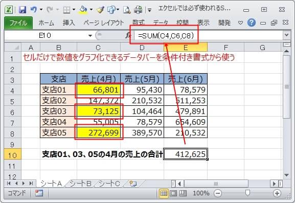 セルを1つずつ指定してSUM関数で合計を求める