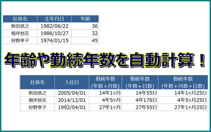 エクセルで生年月日から年齢を自動計算する。和暦もOK!