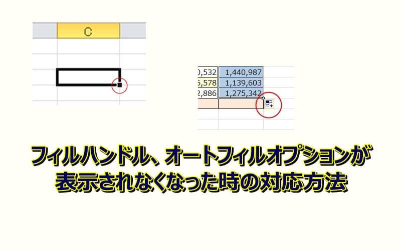 エクセルでフィルハンドルやオートフィルオプションが出ない時の対応方法