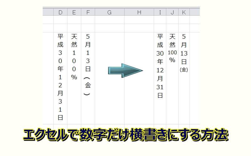 エクセルの縦書きを数字だけ横書きにする2つの方法!2桁、3桁もOK