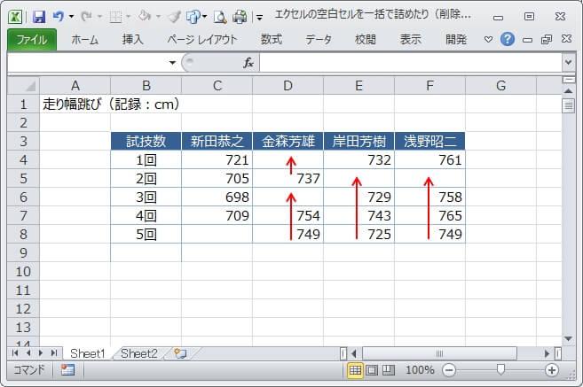 エクセルの空白セルを一括で詰めたり 削除 0などで置換する方法
