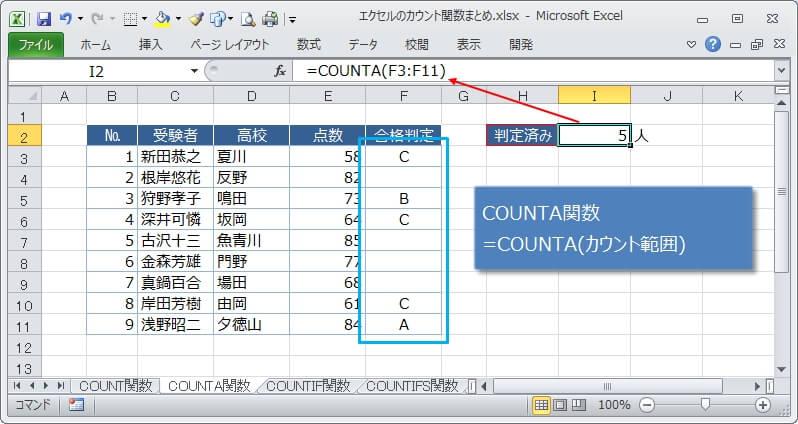 何か入力されているセルをカウントするCOUNTA関数