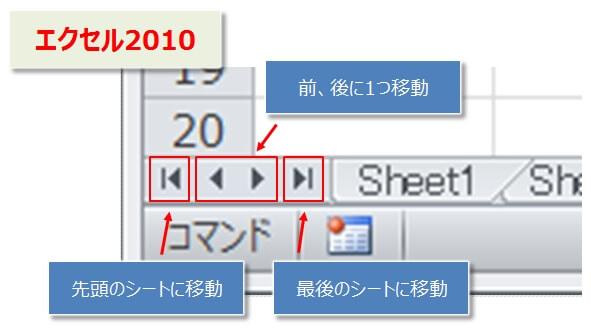 エクセル2010のシート移動ボタン