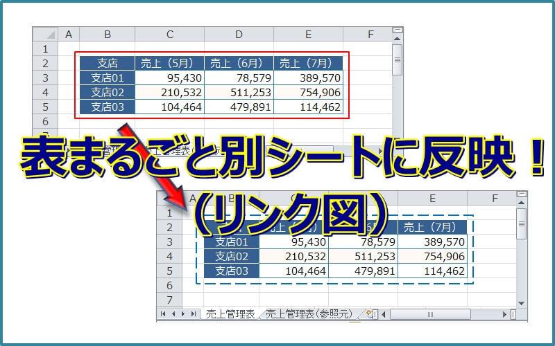【エクセル】リンク図を使って表を別シートに反映させる