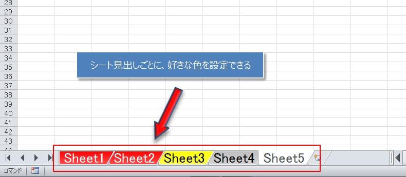 エクセルではシート見出しに好きな色に変更することができる